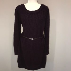 Moda International burgundy sweater dress w/ belt
